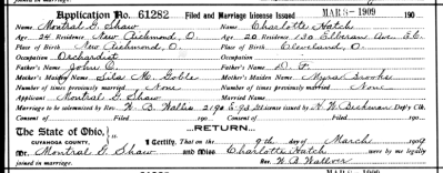 Montral G. Shaw and Charlotte Hatch marriage license