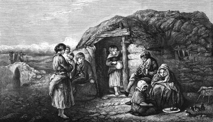 An Irish peasant cabin.      circa 1840
