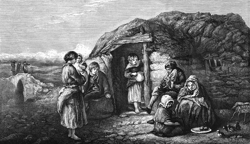 An Irish peasant cabin.      circa 1840