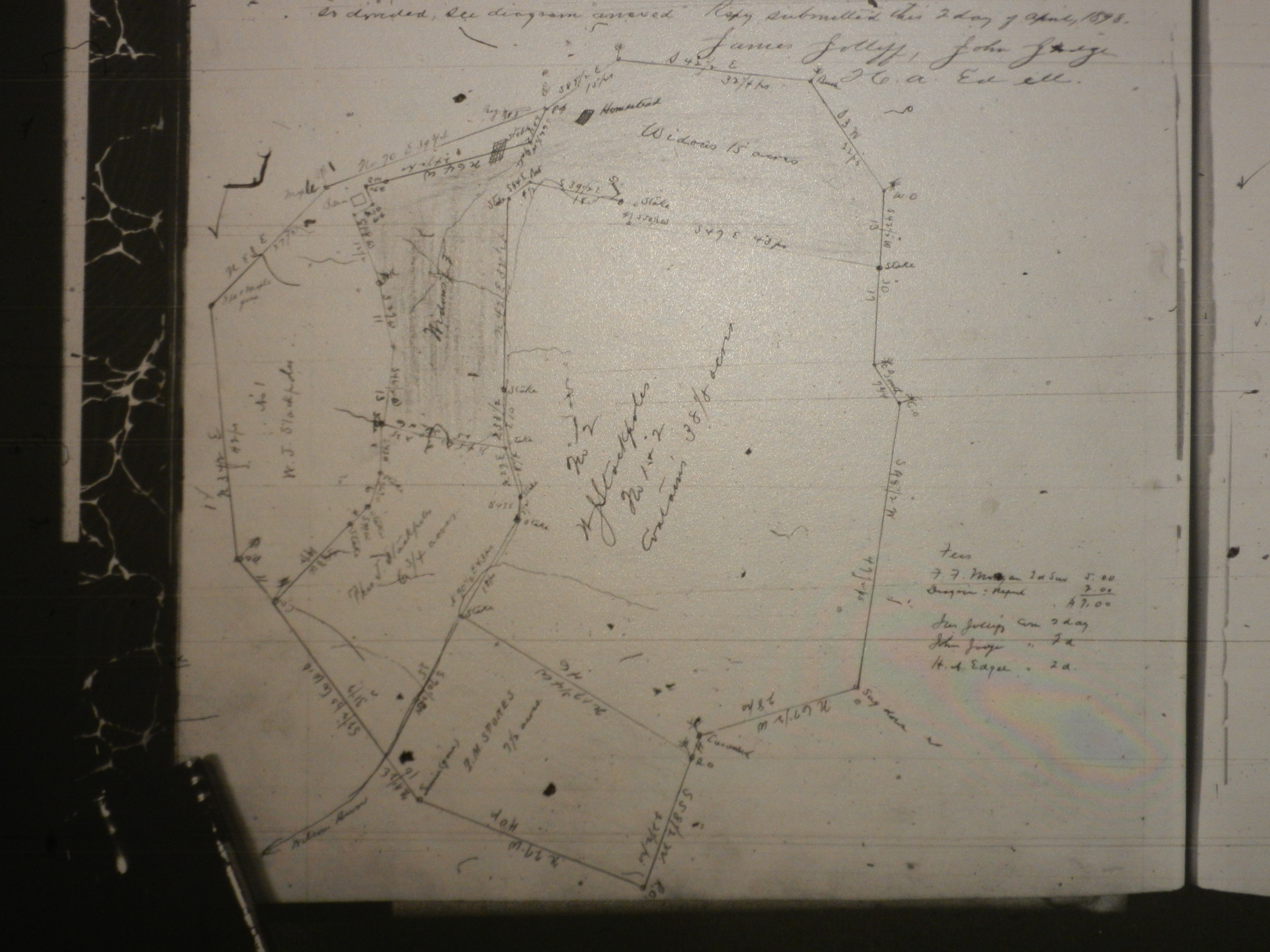 Boundaries drawn out on deed to determine Lydia's dower property location.