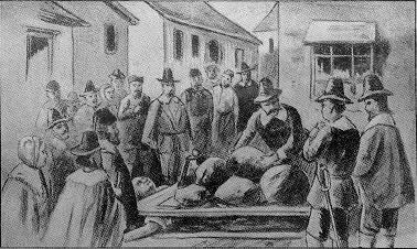 Giles Corey being pressed to death by the citizens of Salem. The image of course is flawed as he was naked when the townsfolk decided on the evenings entertainment.