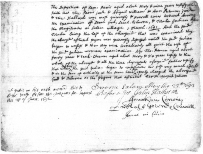 Poor screen shot of poor online image from court documents of Salem Witch trials, this particular document has Ezekiel's name.