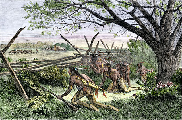 native-americans-preparing-to-attack-a-white-settlers-home-adw8h7