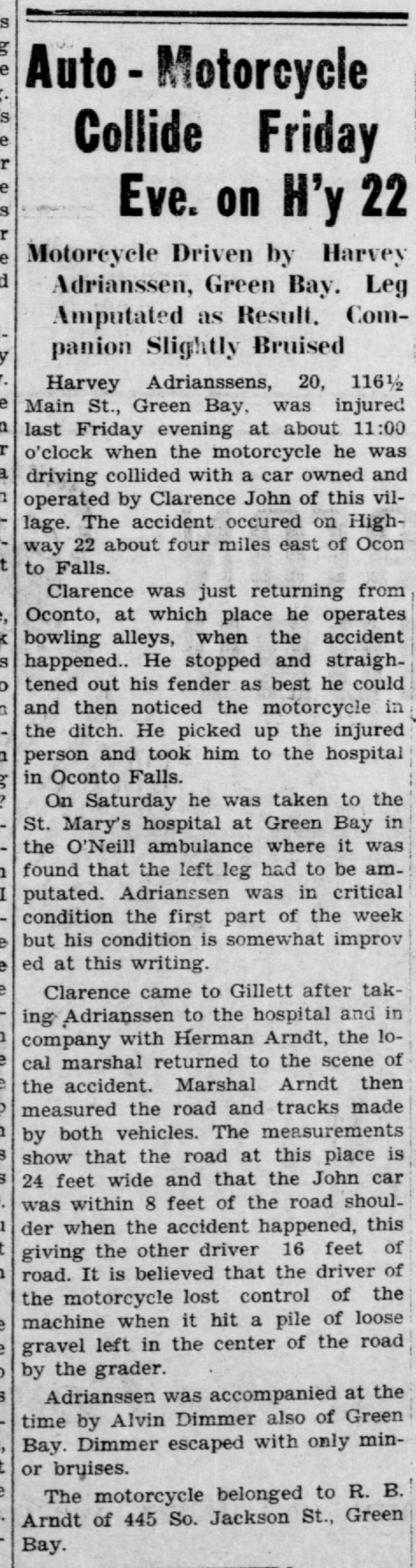 newspaper_johnclarence_motorcycleaccident1931 copy
